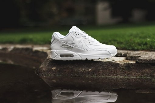 "Кроссовки Nike Air Max 90 Leather ""All White"" 9"